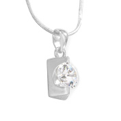 Sterling Silver Cubic Zirconia Irregular Shape Fancy Pendant / Necklace with 17.5' Silver Snake Chain