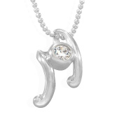 Sterling Silver Cubic Zirconia Music Notes Fancy Pendant / Necklace with 16' Silver Bead Chain