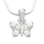 Sterling Silver Cubic Zirconia Butterfly Pendant / Necklace with 17.5' Silver Snake Chain