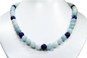 Excellent necklace made of Aquamarine and Lapis Lazuli, ball-shaped *very beautiful light and dark blue gemstones, healing stones, semiprecious stones * lovely unique chain *New*