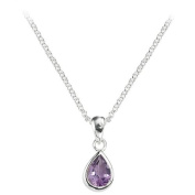 Teardrop Shaped Amethyst Set In A Sterling Silver Pendant, Complete With A 16-46cm Necklace.