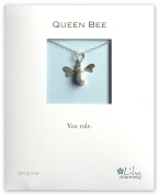 Lily Charmed - Sterling Silver Silver Bee Necklace, with 'Queen Bee, You Rule' Message Card
