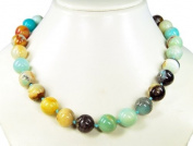 Fantastic necklace made of multicoulored Amazonite, ball-shaped D-18mm *very beautiful gemstones* lovely handcrafted chain , length about 53cm from amazing semiprecious stones, absolutely unique! *New*
