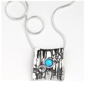 Casteliano - Neck chain 925 Handmade silver chain and pendent, flower engraved and line set with opal stone , 46cm inch