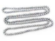 Long rope 8-9mm Round Natural Grey Freshwater Pearl Necklace - 160cm of Pearls