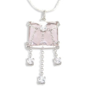 Sterling Silver Pink and White Cubic Zirconia Pendant / Necklace with 17.5' Silver Twist Cardano Chain