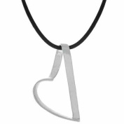 Sterling Silver Leather Chain Large Floating Heart Pendant Necklace