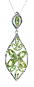 Beautiful 925 Sterling Silver Ladies Pendant + Chain with Peridot - 42mm*14mm, 5 Grammes