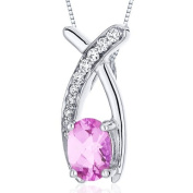 Revoni 925 Sterling Silver Oval Cut Pink Sapphire Pendant with Necklace of 46cm