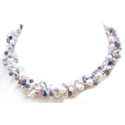 Toc Freshwater 2 Row Purple Pearl and Crystal Necklace 46cm