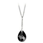 Dropper Pendant Set With Clear And Black Cubic Zirconia In Sterling Silver Supplied Complete With A 16-46cm Necklace.
