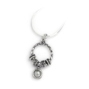 """Casteliano - Necklace 925 Handmade silver hammered pendent, Round shape ,set with an 8mm Pearl stone , 18"""" inch length"""