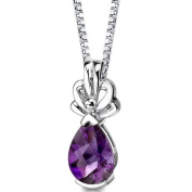 Revoni 925 Sterling Silver 1.50ct Pear Shape Amethyst Pendant with Necklace of 46cm