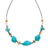 Goldmajor Sterling Silver, Howlite, Amber Nuggets and Turquoise Chips Necklace of 47cm on Leather with 6cm Extender