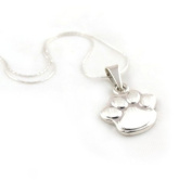 Long 925 Silver Dog Cat Animal Paw Print Pendant and Chain Necklace Jewellery Gift 55cm / 21.7""