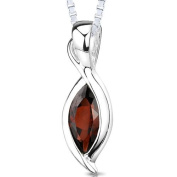 Revoni 925 Sterling Silver 1.25ct Marquise Cut Genuine Garnet Pendant with Necklace of 46cm