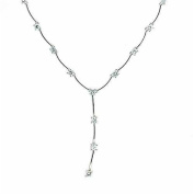 Cubic Zirconia Drop Silver Necklace with Bar Chain