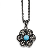 Stainless Steel Simulated Turquoise Crystal Antiqued Flower Necklace - 46cm - JewelryWeb