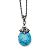 Stainless Steel Simulated Turquoise Crystal Antiqued Teardrop Necklace - 46cm - JewelryWeb