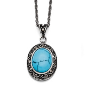 Stainless Steel Simulated Turquoise Crystal Antiqued Oval Necklace - 46cm - JewelryWeb