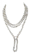 White Shanghai style Cultured Freshwater baroque pearl 135cm long necklace with no clasp and a sterling silver shortener, presented in an attractive satin silk pouch with a gift card