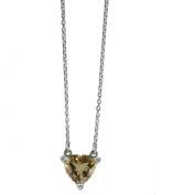 Citrine Heart Adjustable Hallmarked Sterling Silver Necklace