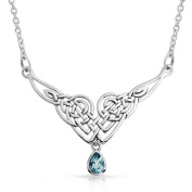 Bling Jewellery Sterling Silver Celtic Knot Colour Teardrop Pendant Necklace