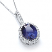 J Jaz Sterling Silver Oval Cluster Deep Blue Cubic Zirconia Pendant Necklace