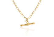 """9ct Yellow Gold Semi Hollow Figaro T-Bar Chain Necklace 46cm/18"""""""