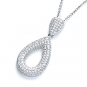 J Jaz Sterling Silver Micro Pave Pear Shape Pendant Necklace