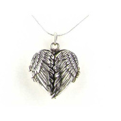 Luxury Ladies Sterling Silver Unusual Hinged Locket Pendant with Opening Angel Wings on 46cm Sterling Silver Snake Chain Necklace - Ideal for Christmas, Birthday, Anniversary or Mothers Day Gift