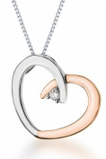 "9ct Two Colour Gold 0.02ct Diamond Set Heart Pendant on Chain Necklace 46cm/18"""