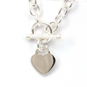 Toc Sterling Silver 34 gramme Necklace with Heart Charm with T-Bar Closure