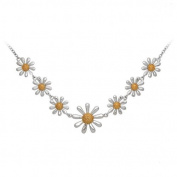 Paul Wright Jewellery Daisy Necklace, Sterling silver with gold plated centre, adjustable length, in a presentation box