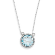 Sterling Silver With Blue Topaz Necklace - 46cm Chain W/3.8cm Extender - JewelryWeb