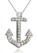 """9ct White Gold Cubic Zirconia Anchor Pendant on Chain Necklace 46cm/18"""""""
