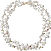Delicate two - strand Keishi pearl necklace, length 46cm , superior iridescence, garnet, tourmaline and 14 carat gold bead accents, fish hook clasp,14 carat gold, stamped 585, attractively packaged, competitively priced.
