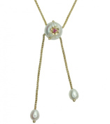 Pearl and Ruby 14ct Yellow Gold Lariat Necklace