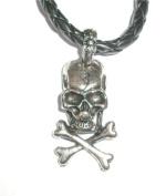Metal Skull 'n' Cross Bones Rope Necklace Pendant