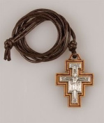 OLIVE WOOD St SAINT FRANCIS CRUCIFIX CROSS NECKLACE Pendant Charm Medal