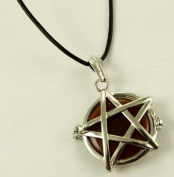 Pendant Locket With Pentagram Design And Carnelian Stone L4.5cm On 1.5mm Leather Cord