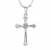 Women's 925 Silver Heart & arrow cubic zirconia Cross Pendant Necklace With 46cm Chain
