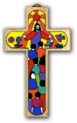 Christ of All Nations Cross. Wood hand painted cross.