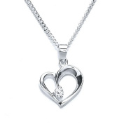 SILVER CUBIC ZERCONIA HEART SHAPED PENDANT WITH 46.6CM CHAIN