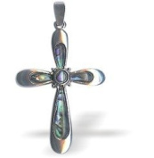 Exquisite Natural Abalone Paua Shell Framed Cross Pendant in Delicate Blue Green with 46cm fine jewellery chain