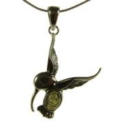 Baltic amber and sterling silver 925 designer green hummingbird pendant jewellery jewellery