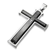 Bling Jewellery Stainless Steel Our Lords Prayer Black Cross Pendant