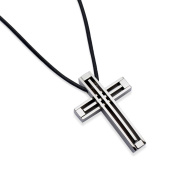 Code Red Stainless Steel Cross Pendant on a Leather Cord