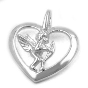 Jewellery necklace pendant heart with angel of 925 silver 17.5x15mm