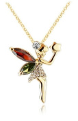 18ct Gold Plated Tinker Bell Little Fairy Pendant Necklace made with. Elements Crystals 46cm (in an Organza Gift Pouch ) Fashion Jewellery